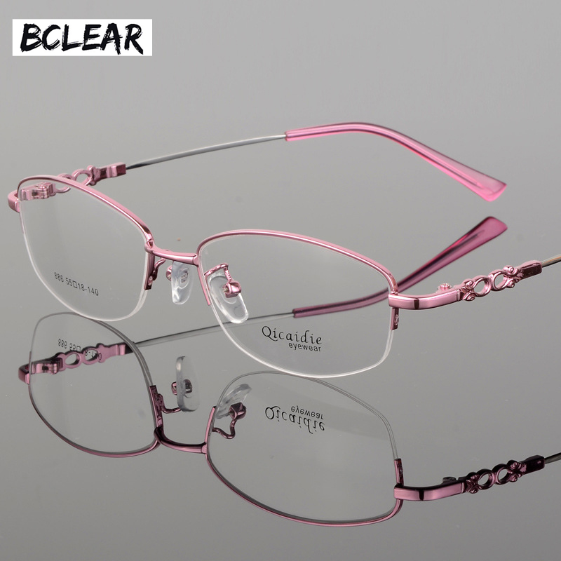 BCLEAR 2018 Fashion Women Glasses Frame Memory Alloy Eyeglasses Half Frame Vintage Clear Lens Glasses Optical Spectacle Frame