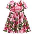 Girls Dresses flowers  Summer style big brand Print Children Designer baby Kids Clothes kids Girl clothing bibs dress Pink rose
