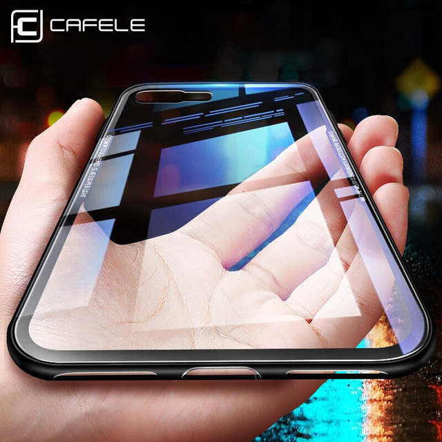 quality design e48df 3d673 US $3.99 20% OFF|Cafele Glass Case for iPhone 7 8 Plus Luxury Tempered  Glass Cover for iPhone Xs/ XR/ Xs MAX Anti Scratch HD Clear 9H Hardness-in  ...