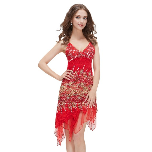 Ever Pretty Hot Sale Red Robe Cocktail Dresses Courte Chic Lace Sequined Sexy Special Occasion High Low Party Dress EP00045
