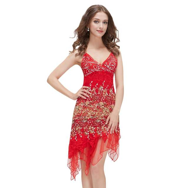 b1f9911252740 Ever-Pretty Hot Sale Red Robe Cocktail Dresses Courte Chic Lace Sequined  Sexy Special Occasion High Low Party Dress EP00045