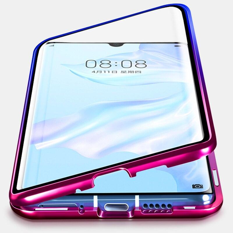Gradiente de Cor Magnética Caixa Do Telefone Para Huawei Companheiro P30 30 Companheiro P20 20x de Vidro De Dupla Face de Metal Bumper Honra 9X Caso 8X20 10