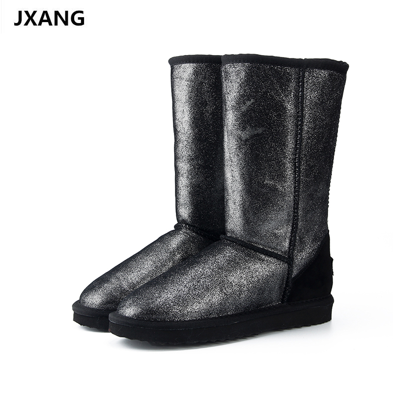 JXANG Top Quality Genuine Leather Snow Boots for Women Waterproof High Winter Boots Warm Women Long Boots US 3-13