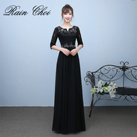 Fashion Black Evening Dresses 2019 Half Sleeve Robe De Soiree Long Beaded Lace Formal Evening Gowns Plus Size