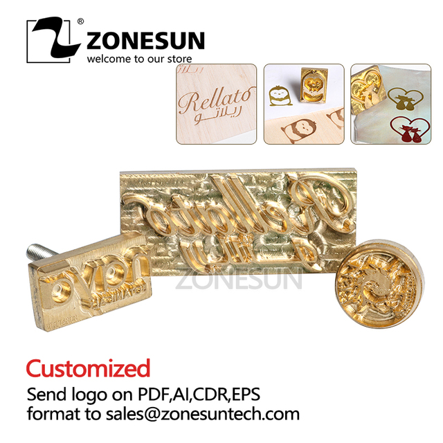 ZONESUN Metal Brass Mould Wood Leather Stamp Custom Logo Design Branding Plates Plastic Cake Bread Mold Heating Embossing Tool