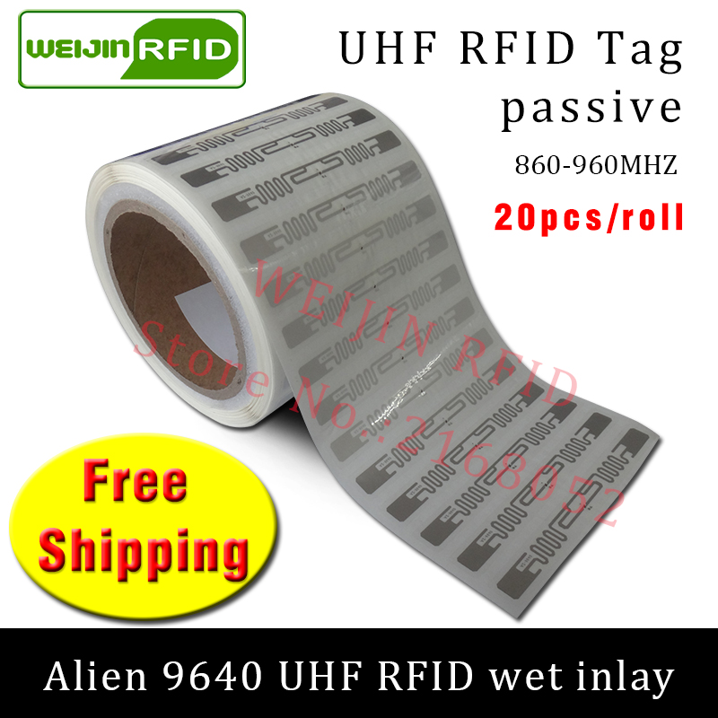 UHF RFID tag sticker Alien 9640 wet inlay 915m868 860-960mhz Higgs3 EPC 6C 20pcs free shipping self-adhesive passive RFID label uhf rfid tag sticker alien 9654 wet inlay 915mhz 900 868mhz 860 960mhz higgs3 epcc1g2 6c smart adhesive passive rfid tags label