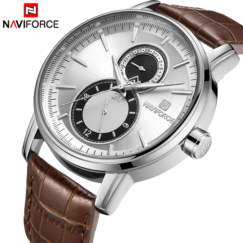 2018 New Men Watch NAVIFORCE Top Brand Luxury Mens Quartz Date Clock Male Leather Business Sport Watches Relogio Masculino naviforce fashion casual mens watches top brand luxury leather business quartz watch men wristwatch male clock relogio masculino