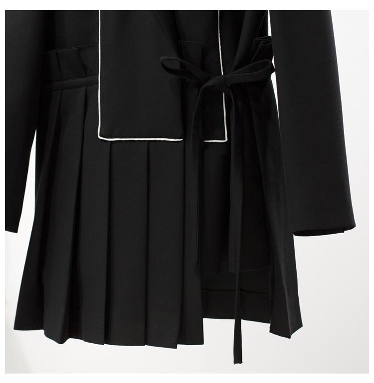 Alta qualidade 2019 início da primavera nova moda das mulheres de correspondência de cores listrado plissado hem side tie slim de manga longa pequena blazer - 2