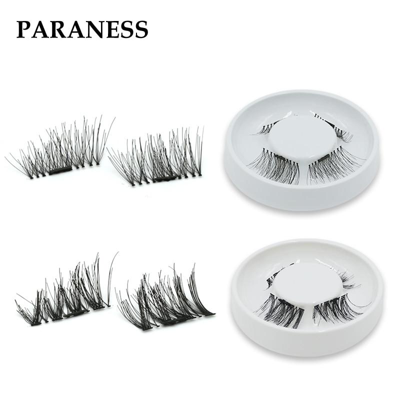 Paraness 3 Magnetic Eyelash Extension 3D Eyelashes on the magnet False Eyelashes Handmade Fake Eye Lashes Thicker Cross Reusable