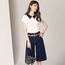 Dark Blue Jeans Denim Women Two Piece Sets Clothes Outfits Shorts Set ins 2 Top and Pants White Ladies Knit Tops