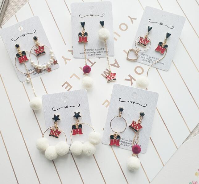 Nouveau 10 paires classique mickey minnie mignon pendentif boucles d'oreilles femmes fille belle enfants enfants belle fête cadeaux