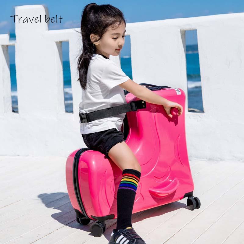 Reise Gürtel Kann sitzen, rutsche Koffer Räder hohe qualität Kinder Roll Gepäck Spinner kinder reisetaschen-in Rollgepäck aus Gepäck & Taschen bei  Gruppe 2