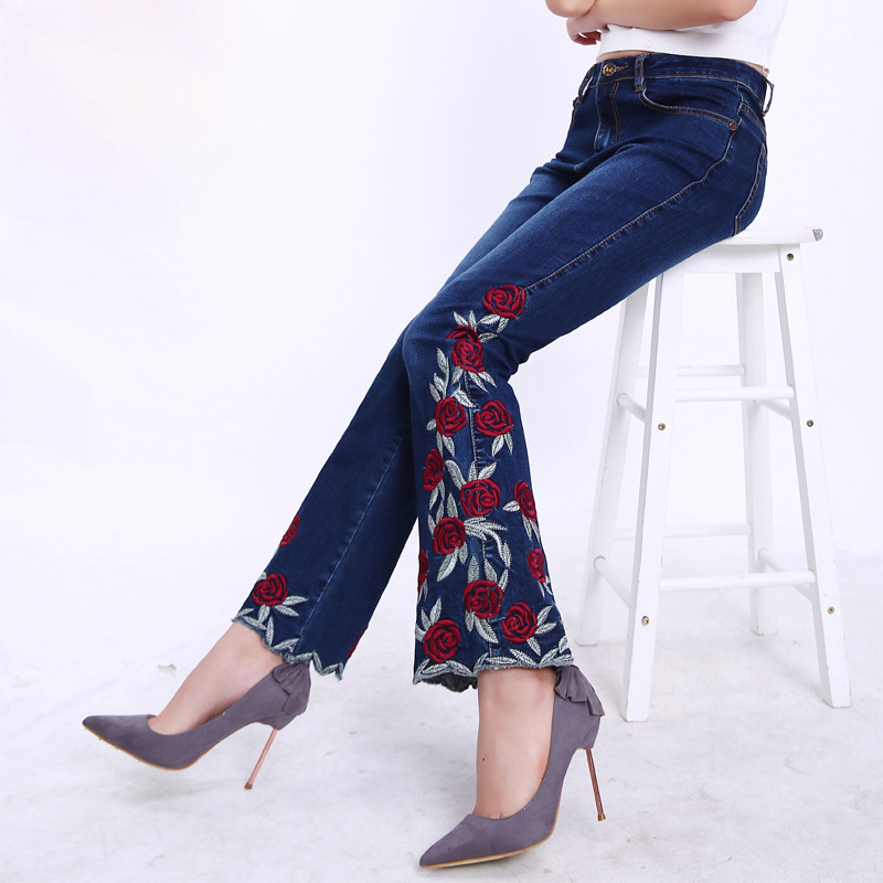 FERZIGE 2019, красивые джинсы с цветочной вышивкой и высокой талией, женские синие Эластичные Обтягивающие расклешенные брюки, женские повседнев