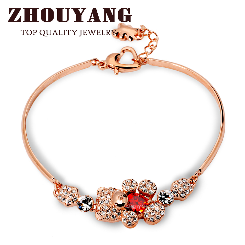 Top Quality ZYH157 Cute Teddy Bear Crystal Rose Gold Plated font b Bracelet b font Jewelry