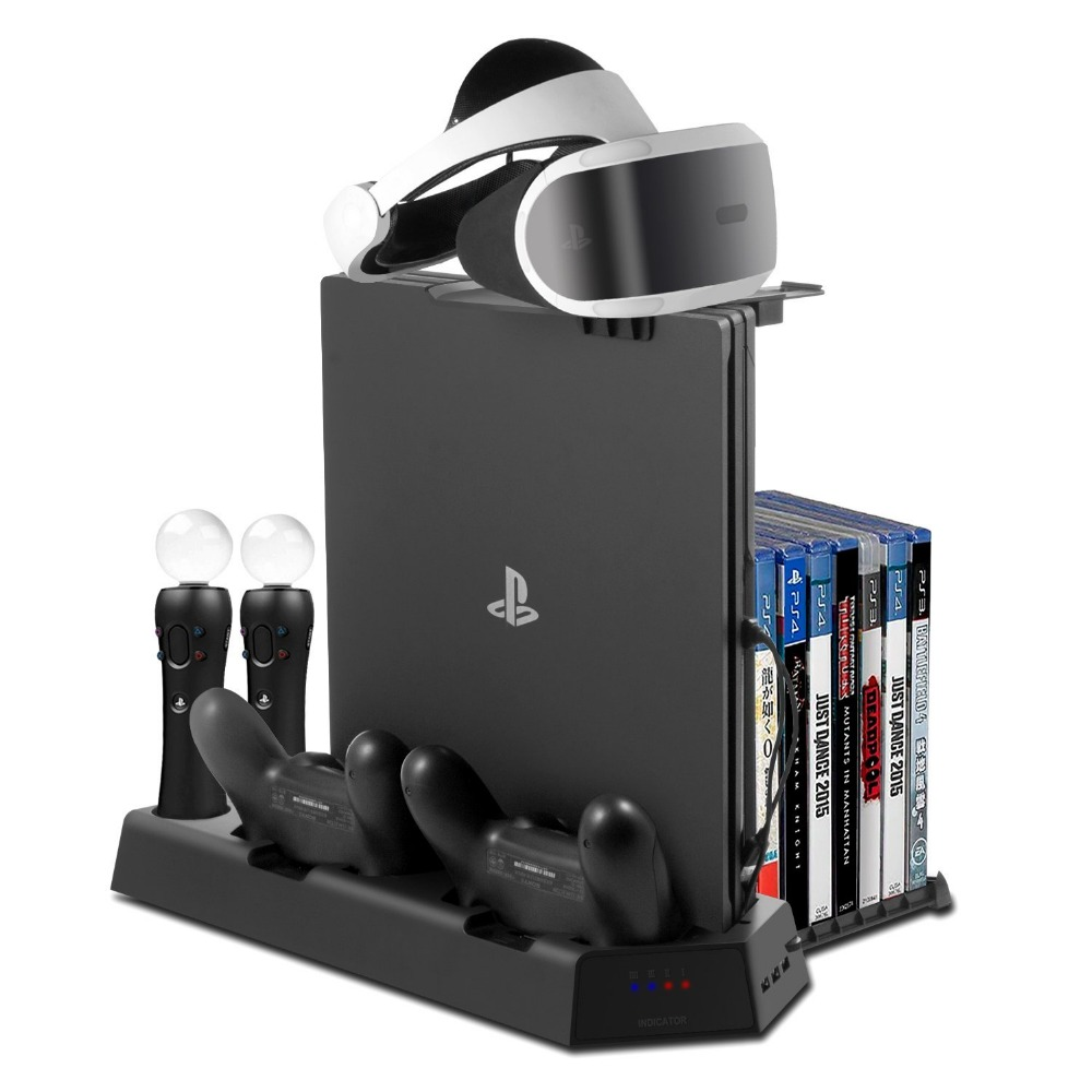 Tout en Un PS VR Stand pour PS4 PS4 Mince PS4 Pro Vertical Stand De Refroidissement fan Controller Charging Station PSVR lunettes Titulaire