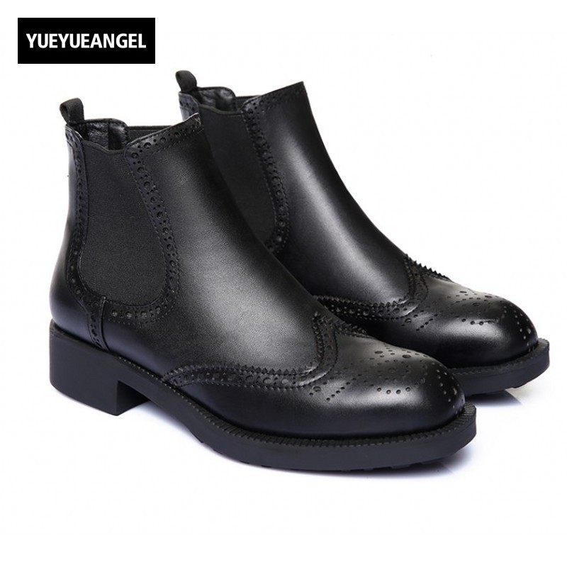 Chelsea Boots Women Slip On Round Toe Shoes Leather Shoes Female Ankle Boots Wing Tip Brogue Shoes Ladies Square Heel Platform new arrival superstar genuine leather chelsea boots women round toe solid thick heel runway model nude zipper mid calf boots l63