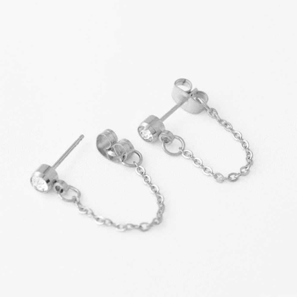 1pc ファッションシンプルな金属結晶ジルコンチェーンスタッド女性パンクチタン鋼シルバーピンクゴールド耳スタッド #275201