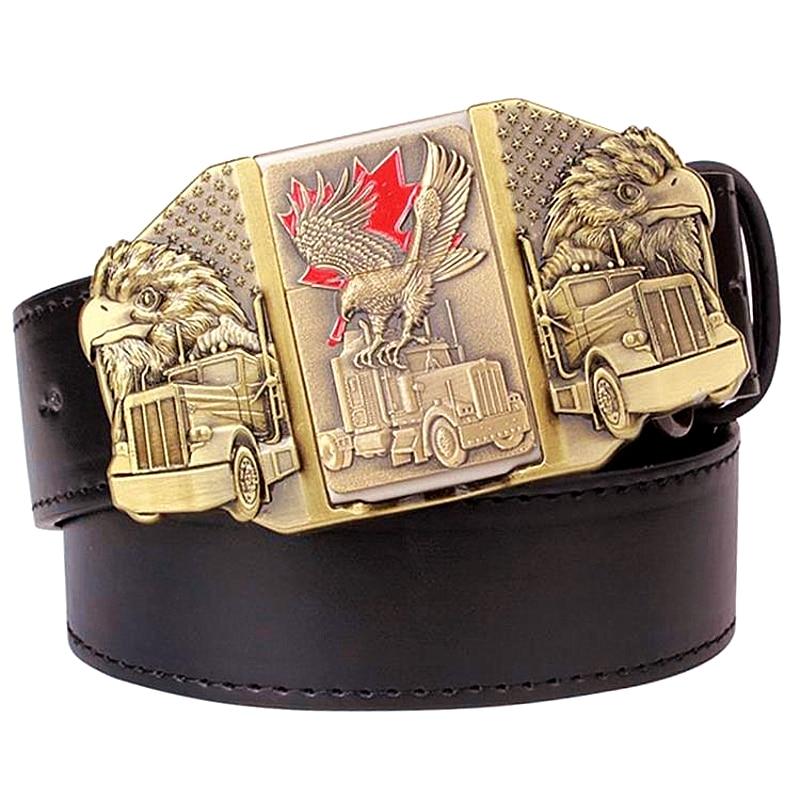 Russian Style Cigarette Lighter Belt Men's Belt Lighter Buckle Metal Lighters Golden Eagle Kerosene Lighter Belt For Men Gift