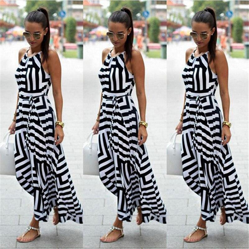 HTB1d9R0XZnrK1RjSspkq6yuvXXaQ Bigsweety New Fashion Women Sexy Boho Striped Dress Summer Maxi Long Dress Sleeveless Beach Strap Sundress Vestidos For Female