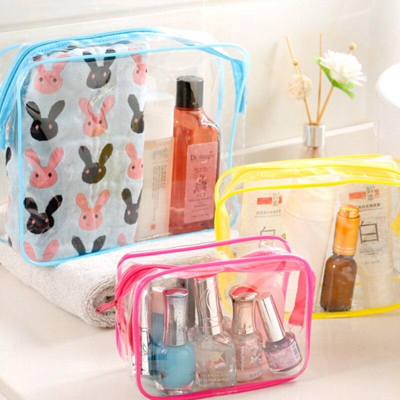Travel Transparent Cosmetic Bag PVC Women Zipper Clear Makeup Bags Beauty Case Make Up Organizer Storage Bath Toiletry Wash Bag 2