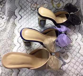 Nouveauté été peep toe pompes à talons hauts mode femmes en cuir véritable bowknot à talons hauts pantoufles EU35-41 BY662