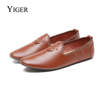 YIGER New Men Loafers Genuine Leather Driving Shoes Man Slip-on Boat shoes Casual Breathable soft light  0109