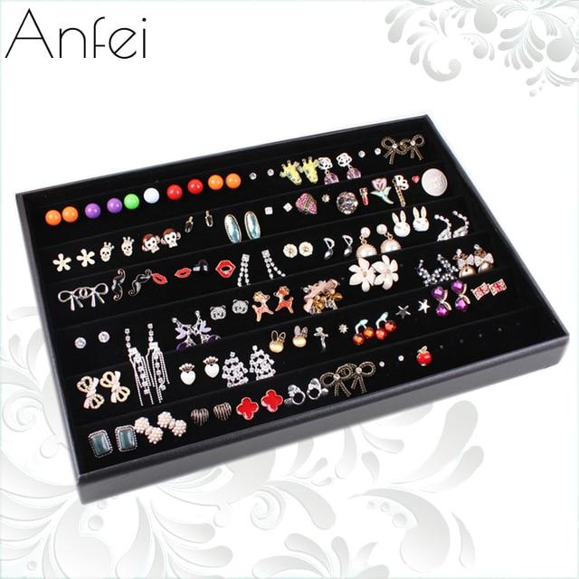 Black Velvet Leather Earrings Frame Wheel Stud Earring Jewelry Holder Display Rack Storage Box Accessories
