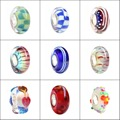 925 Sterling Silver Large Hole Colorful USA Flag Beads Murano Glass 3D Flower European Charm Beads Fit Brand Bracelet