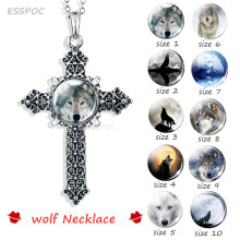 Cross Necklace Vintage Wolf Howling At The Moon Silver Glass Dome Snap Button Jewelry Animal Accessories Chris