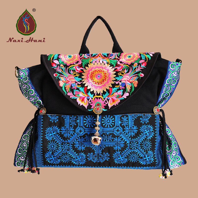 HOT Embroidered women handbags black canvas Ethnic messenger shoulder bags Vintage casual women bags original ethnic embroidered women handbag vintage handmade tassel shoulder bags black canvas casual large bags