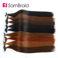 SAMBRAID 22 Inch Tape In Straight Hair Extension 40 Pcs/pack Pure Color Synthetic Hair Skin Weft Invisible In the Sunshine