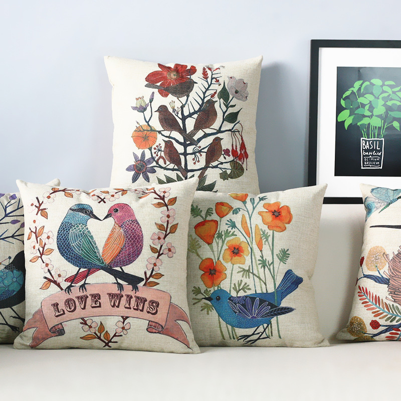 American Retro Literary ,Japan Korea Rustic Bird Pillow S,Pillow Cushion , Modern Pillow Home Decoration Sofa Cushions