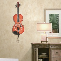 Music Theme Wall Clock For Kids Room Decoration Home Decoration Accessories Wall Clocks Violin Design Hanging