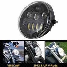 DOT E9 Harleyรถจักรยานยนต์อลูมิเนียมสีดำสำหรับHarley V Rod VROD VRSCA VRSCไฟหน้าVRSC/V RODรถจักรยานยนต์LEDไฟหน้า
