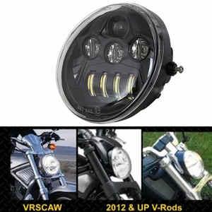 Image 1 - DOT E9 faro delantero negro de aluminio para motocicleta Harley V Rod VROD VRSCA VRSC faro VRSC/V ROD faro LED para motocicleta