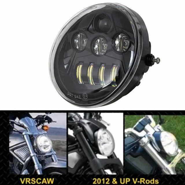 DOT E9 faro delantero negro de aluminio para motocicleta Harley V Rod VROD VRSCA VRSC faro VRSC/V ROD faro LED para motocicleta