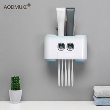 AODMUKI Wall-mount Toothbrush Holder Auto Squeezing Toothpaste Dispenser Toothbrush Toothpaste Cup Storage Bathroom Accessories цена