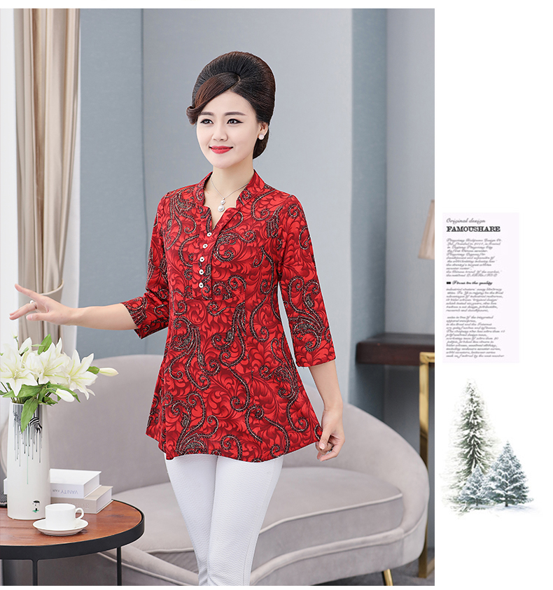 Women Flower Chiffon Blouses Three Quarter Sleeve Crepe Top Woman Peplum Tunic Red Green Print Shirt Plus Size Blouse Lady Shirt Spring (9)
