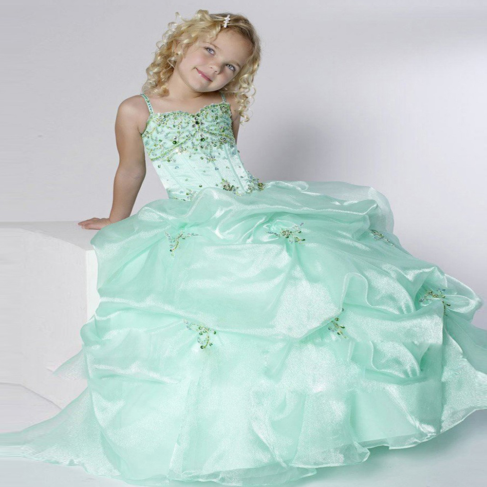 Stunning Vestido Primera Comunion Mint Green Charming Spaghetti Strap Glitz Crystals Pleat Toddler Pageant Ball Gowns 12 Year green sandalwood combed wooden head neck mammary gland meridian lymphatic massage comb wide teeth comb
