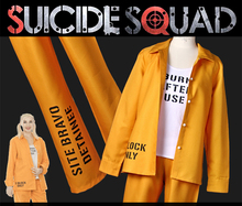 2016 New! Movie Suicide Squad Harley Quinn prison orange-clad cosplay costume prisoner uniform Customize Any sizes Full set