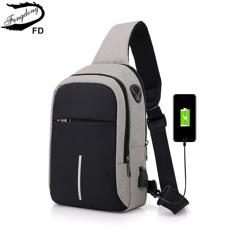 FengDong small usb charge one shoulder bag men messenger bags male waterproof sling chest bag 2018 new bagpack cross body bags
