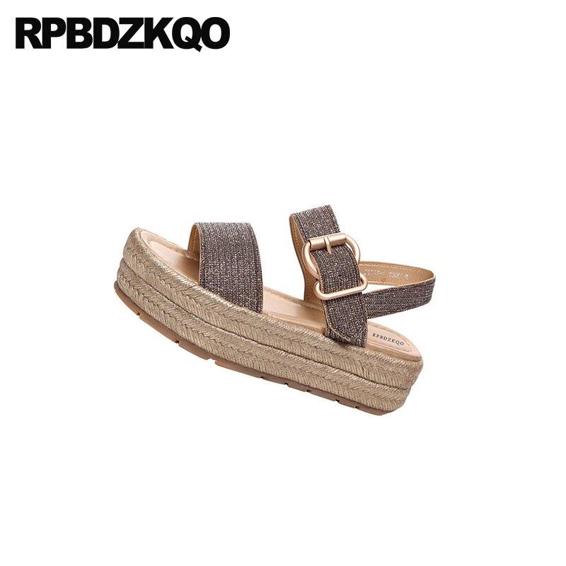 1848cfb2fe8 Paillette Pumps Women Shoes Harajuku Sequin Platform Flatform Open Toe  Slingback Gold Summer Double Strap Sandals Flat Glitter