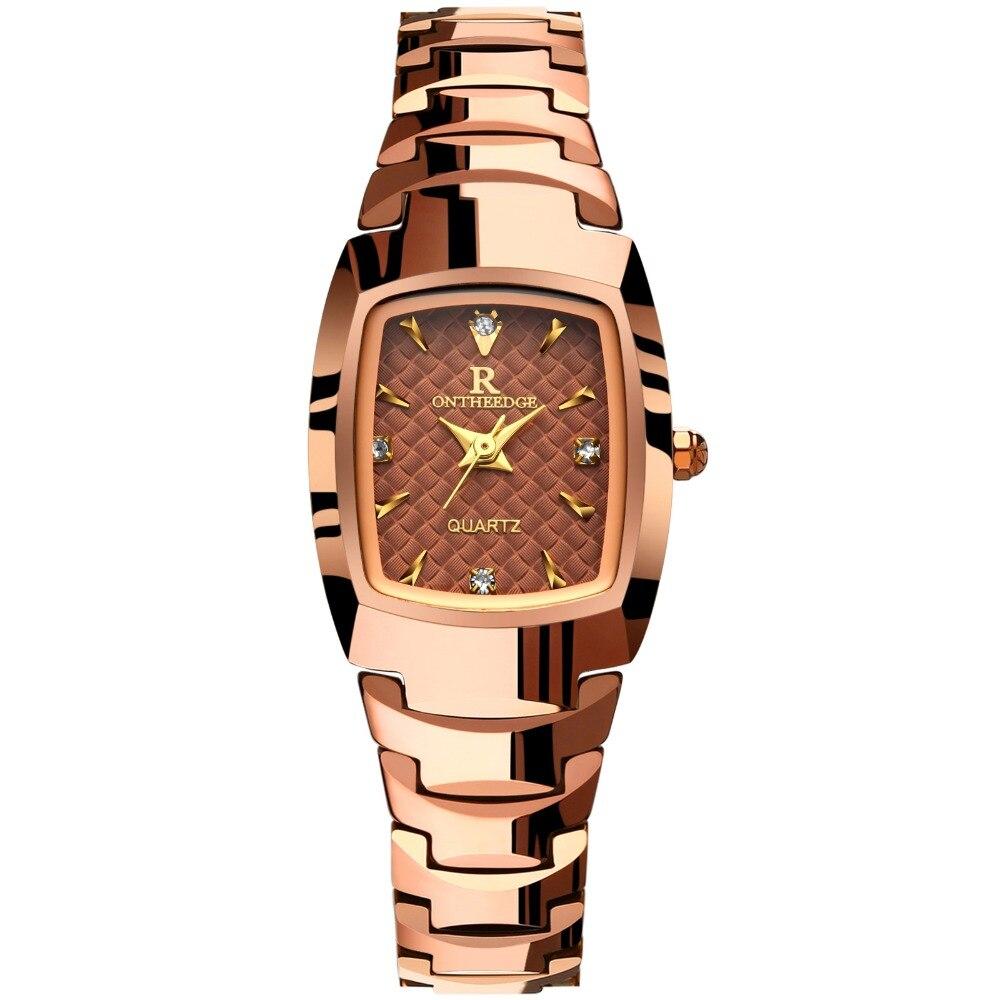 Montre-bracelet de mode en acier inoxydable tungstène femmes de luxe Ontheedge PVD or Rose sans décoloration couleur montre-bracelet Relogio Feminino