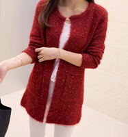 The New 2015 Autumn Female Sweater Han Edition Of Long Round Collar Loose Thin Pocket Knit