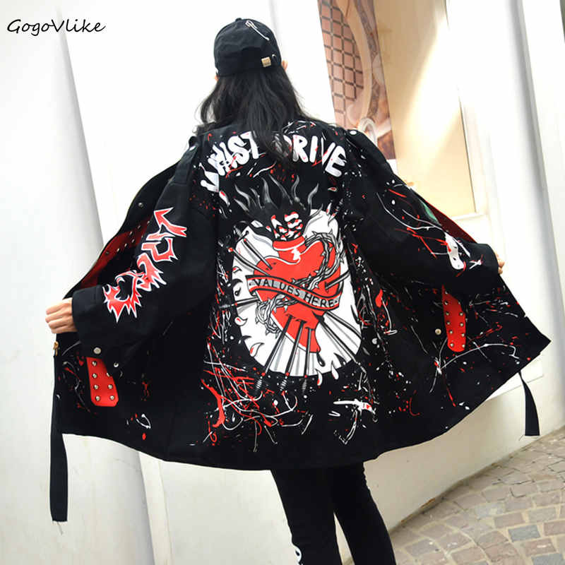 Graffiti Print   Trench   Coat 2018 New punk rock military Outwear Women Cartoon Print Rivet Winderbreaker Special Design LT066S50