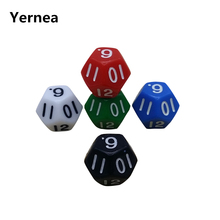 Yernea 5 Pcs/Lot Digital Dice Twelve-surface Dungeon and Dragons Game Dice Mahjong Twelve Point Dice Set Wholesale цены онлайн