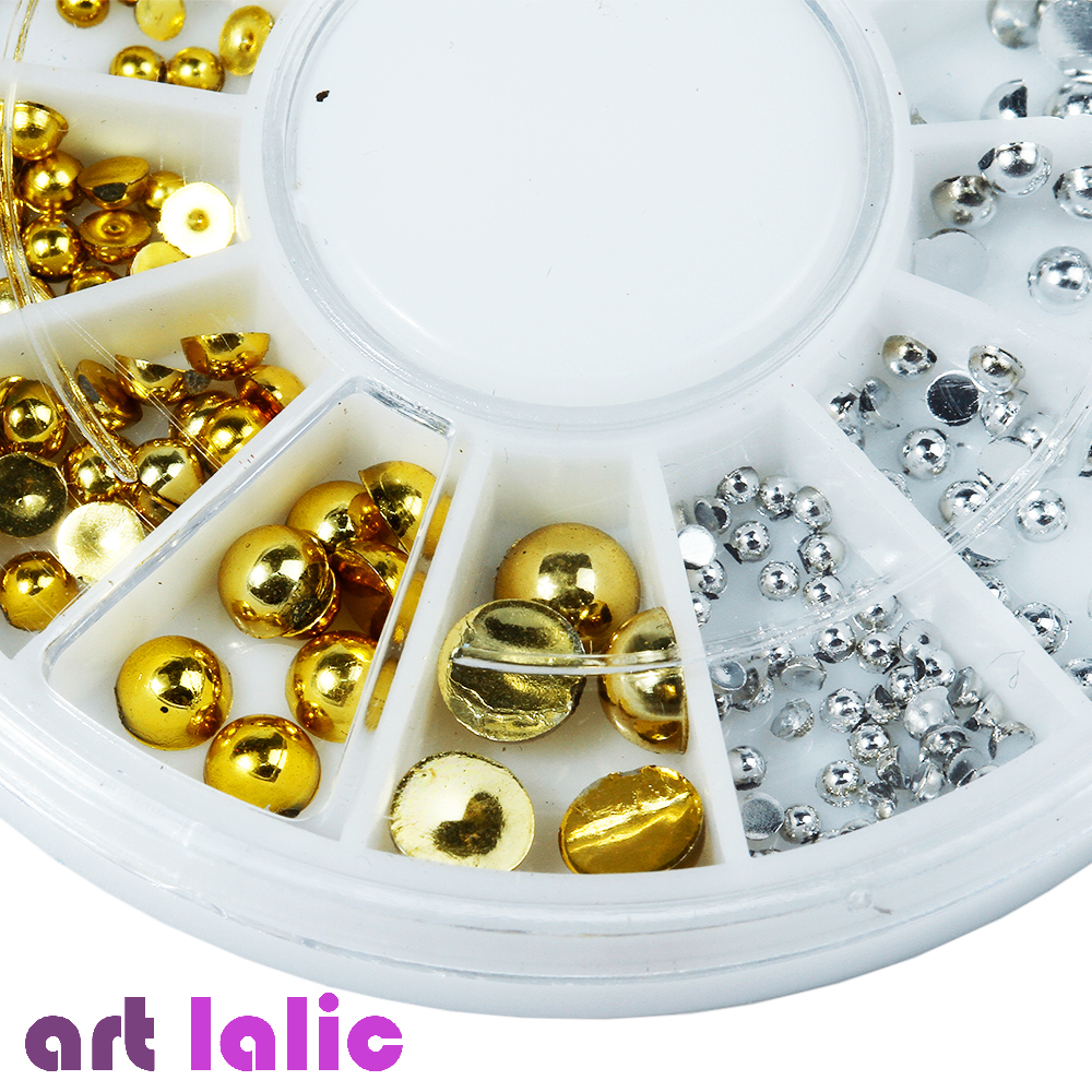 6 Sizes Gold Silver Round Nail Art Stickers Tips Glitter Fashion Nail Tools DIY Decoration Stamping art zerkalo зеркало kingsley gold