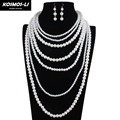 pearl necklace women fashion statement long strand necklace multilayer women collar vintage necklace party jewelry 6060