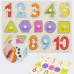 Image 2 - 30cm Kid Early educational toys baby hand grasp wooden puzzle toy alphabet and digit learning education child wood jigsaw toy