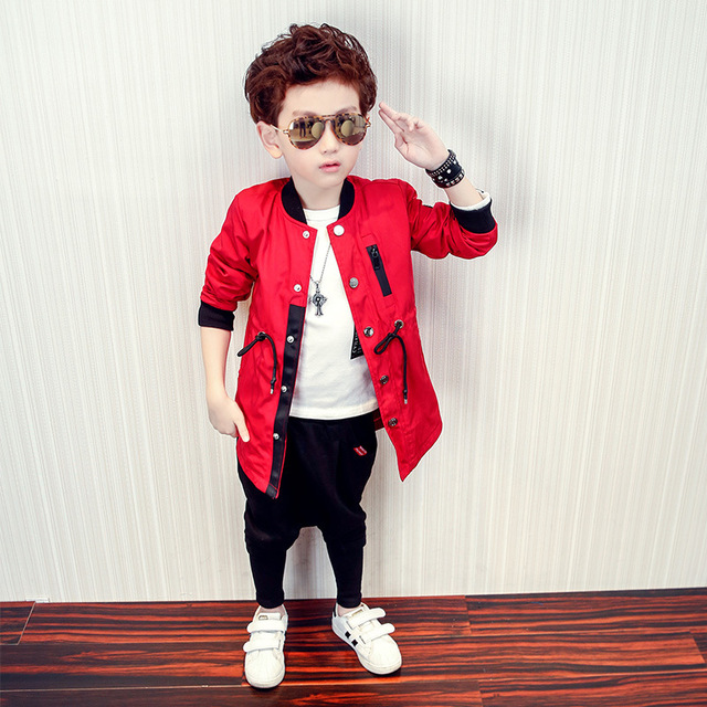 3-8T Children Clothing 2017 Spring New Boy Coat Kids Fashion Long Trench